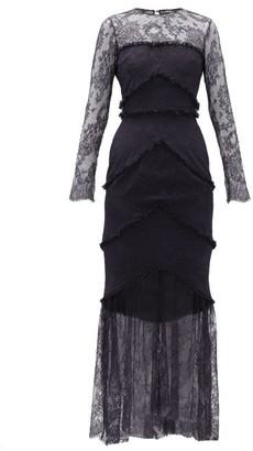 Emilio De La Morena Lace-trim Sheer Hem Gown - Womens - Navy Multi