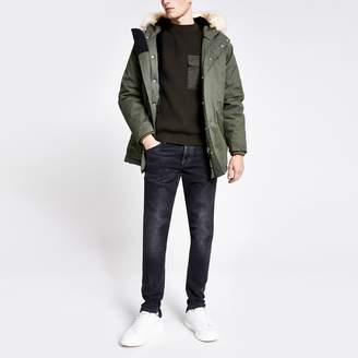Bellfield Mens River Island Khaki faux fur hooded parka jacket