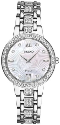 Seiko Womens Silvertone Crystal-Accented Mother-of-Pearl Dial Watch