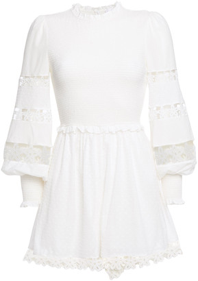 Zimmermann Primrose Guipure Lace-trimmed Shirred Swiss-dot Cotton Playsuit