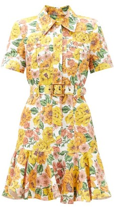 Zimmermann Poppy Sunshine Floral-print Linen Mini Shirt Dress - Yellow Print