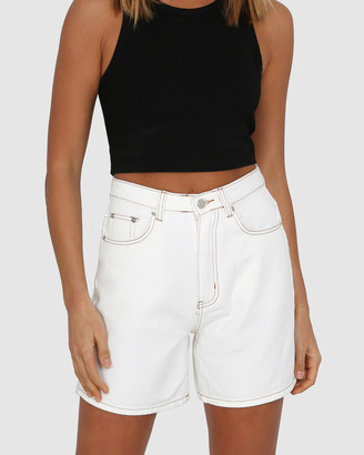 BY.DYLN - Women's White Denim - Jacy Shorts - Size One Size, S at The Iconic