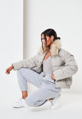 Missguided Grey Ultimate Faux Fur Puffer Jacket