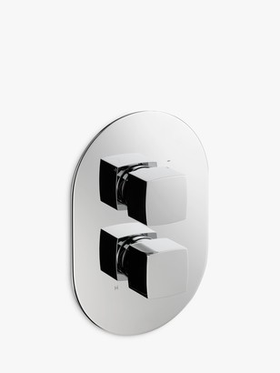 John Lewis & Partners Eden Concealed Thermostatic Shower Valve Bathroom Taps (1 Exit), Chrome