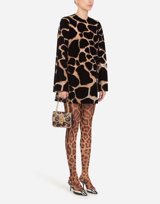 Dolce & Gabbana Short Organza Dress With Flocked Giraffe Print