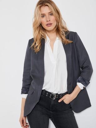 Mint Velvet Smoke Shawl Collar Blazer - Dark Grey
