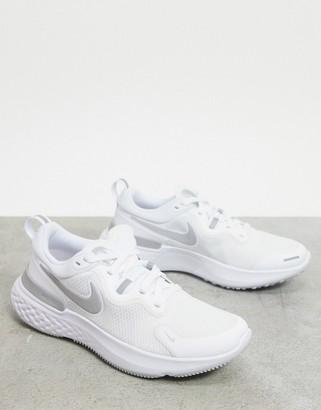 Nike Running React Miler sneakers in white