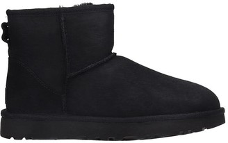UGG Mini Classic Low Heels Ankle Boots In Black Suede