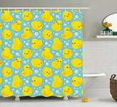 Ambesonne nursery decor Collection, Cute Happy Baby Rubber Duck and Bubbles Cartoon Pattern Childhood Kids Decor Animal Art, Polyester Fabric Bathroom Shower Curtain, 84 Inches Extra Long, Aqua Yellow