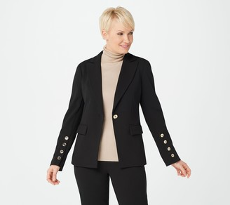 Dennis Basso Luxe Crepe Blazer with Button-Up Sleeve Detail