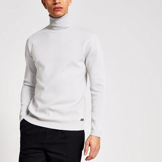 River Island Maison grey roll neck premium knit jumper