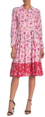 Nanette Lepore Long Sleeve Border Print Dress