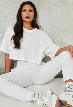 Missguided White Drop Shoulder Oversized Crop Top