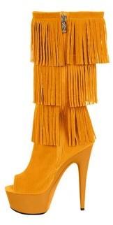 """The Highest Heel Halloween Women's 6"""" Micro Suede Western Fringe Boot"""