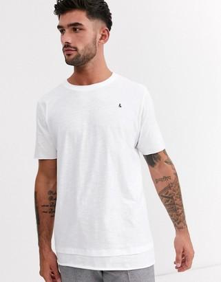 Jack and Jones Originals layered hem raw edge t-shirt in white
