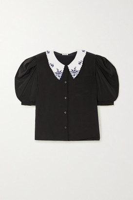 Miu Miu Embroidered Silk-crepe Blouse - Black