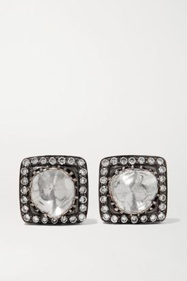 Amrapali 18-karat Gold And Oxidized Sterling Silver Diamond Earrings