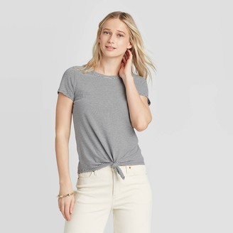 Universal Thread Women's Striped Short Sleeve Knit Tie Front T-Shirt - Universal ThreadTM