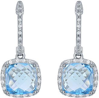 Diana M Fine Jewelry 14K 4.33 Ct. Tw. Diamond & Blue Topaz Earrings