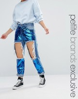 Liquor & Poker Petite Extreme Rip Skinny Jean With Sequin Inserts