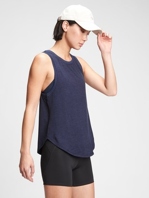 Gap GapFit Brushed Tech Jersey Knot-Hem Tank Top