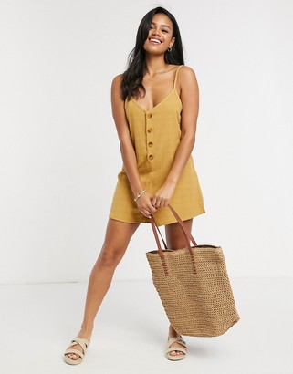 rhythm button up beach playsuit in honey