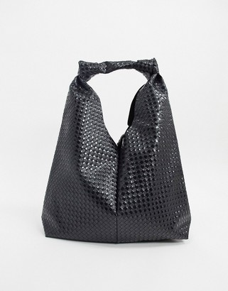 ASOS DESIGN knot strap tote bag in black weave