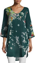 Johnny Was Ficher Scoop-Neck 3/4-Sleeve Printed Blouse