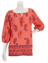 Liz Claiborne New York Paisley Printed Tunic with Beaded Ties