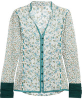 Talitha - Floral-print Embroidered Cotton And Silk-blend Gauze Shirt - Blue