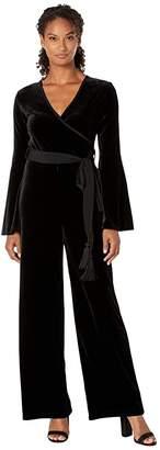 Calvin Klein Long Sleeve Velvet Jumpsuit with Surplus Neck (Black) Women's Jumpsuit & Rompers One Piece