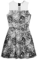 Aqua Girls' Flocked Floral Mesh Overlay Dress , Sizes S-XL - 100% Exclusive