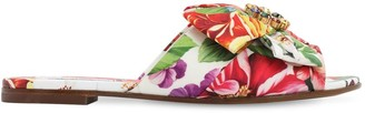 Dolce & Gabbana Embellished Flower Print Twill Sandals