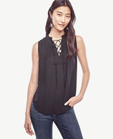 Ann Taylor Petite Pintucked Lace Up Shell