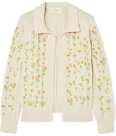 The Great The Rose Bud Embroidered Cotton-blend Cardigan - Cream