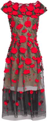 Oscar de la Renta Embroidered Cotton-blend Mesh Midi Dress