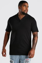 boohoo Mens Black Big And Tall Revere Neck Polo, Black