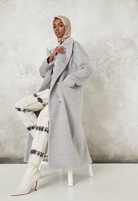 Missguided Grey Shawl Collar Oversized Maxi Coat