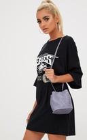 PrettyLittleThing Grey Mini Snakeskin Bucket Bag