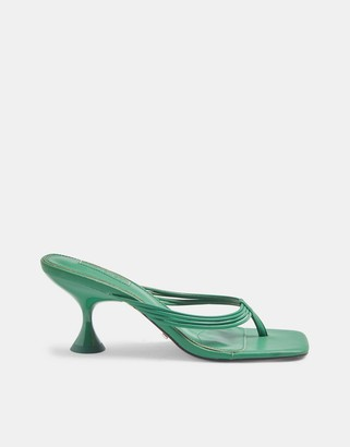 Topshop toe thong heeled sandals in teal