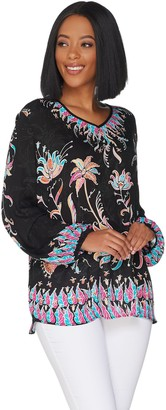 Bob Mackie V-neck Floral Printed Woven Blouse