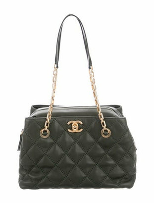 Chanel Small Retro Chain Shopper Tote green