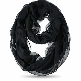 Satinior 1 or 3 Pieces Lightweight Sheer Infinity Scarf Solid Colors Thin Circle Loop (Black 1)