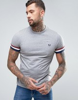 Fred Perry Striped Cuff T-Shirt in Gray