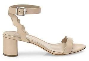 Loeffler Randall Women's Emi Scallop Leather Block Heel Sandals