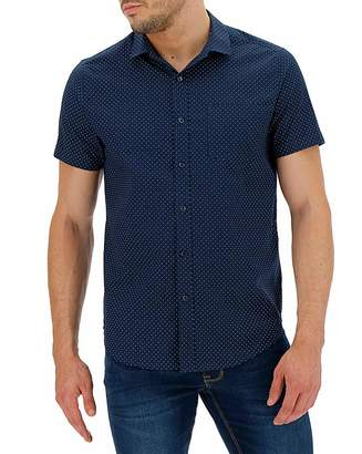 Jacamo Navy Polka Dot Short Sleeve Shirt