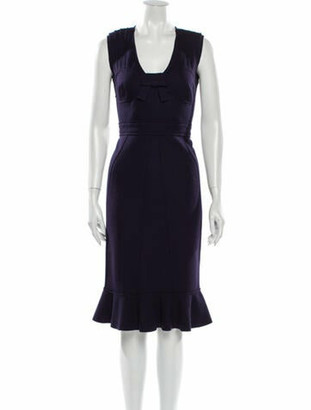 Prada Virgin Wool Midi Length Dress Wool