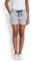modern Women's Woven Shorts-Jet Black/Cobalt Colorblock