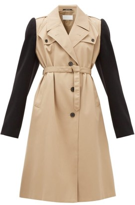 Maison Margiela Wool-sleeve Twill Trench Coat - Beige