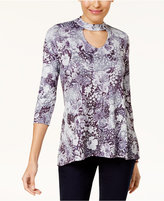 Style&Co. Style & Co Printed High-Low Hem Choker Tunic, Created for Macy's
